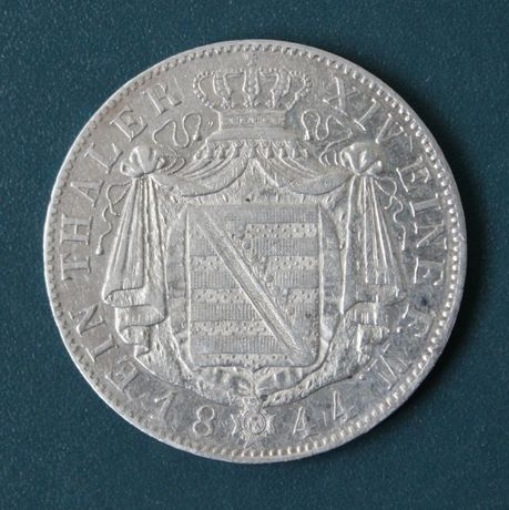 монета 1 талер 1844 года,Саксония,серебро