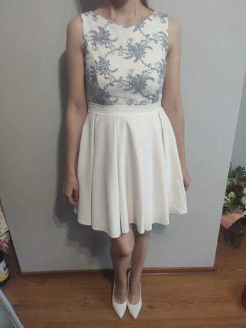 Sukienka na wesele lub komunię, rozmiar 38, kolor ecru