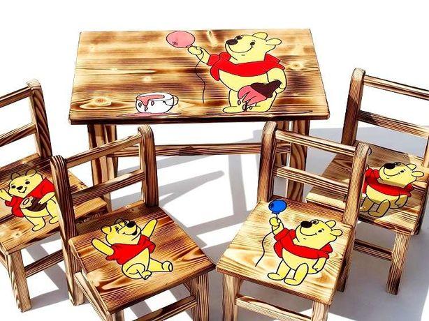 Stolik+4 krzesełka MEBELKI DREWNIANE dla dzieci