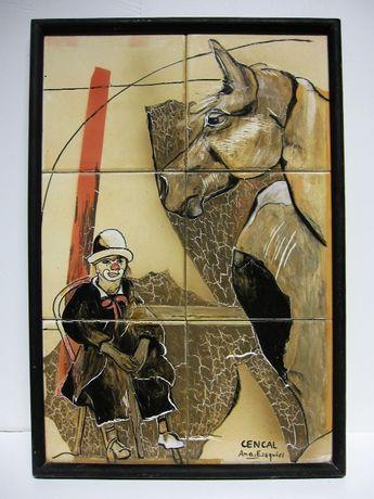 painel de azulejos - tema de circo-cavalo-palhaço-CENCAL-Ana Ezequiel