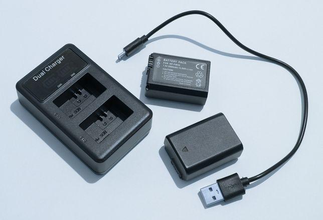 Podwójna ładowarka dual Sony a6000 a7 6300 Nex3 5 5100 NP-FW50 + 2 aku