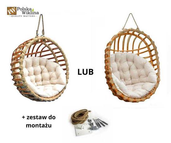 Fotel wiklinowy wiszący KOKON Huśtawka + poduszka 2 kolory