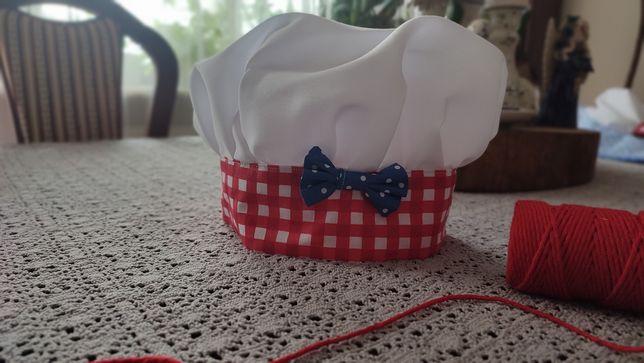 Czapka kucharska handmade dla dziecka przedszkolaka 48/39 cm