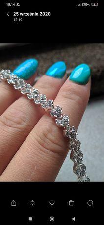 Komplet biżuterii ślub nowe kolczyki bransoletka kryształki ślubna