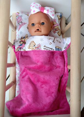 Плюшевый пледик матрасик подушка для пупса в кроватку или коляску