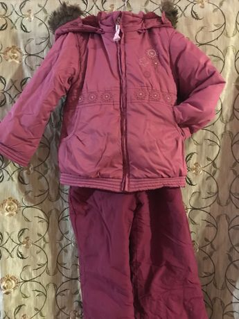 Зимний комплект с курточка и комбинезон комбез девочка 104