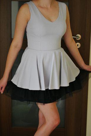 Sukienka na wesele, chrzciny, komunię rozmiar 38 szara, czarna