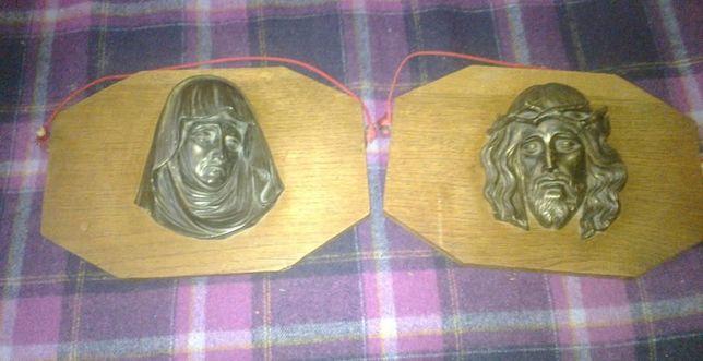 2 płaskorzeźby: Jezus i Maryja