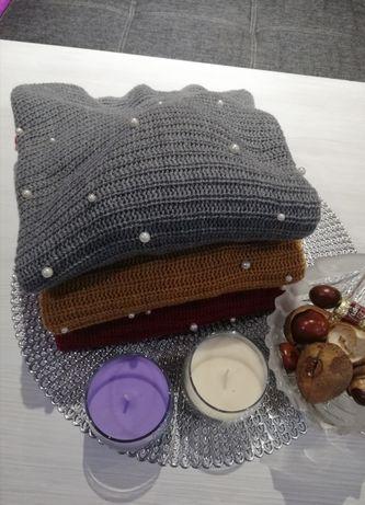 Piękny sweterek z perelkami szary r. Uniwersalny NOWY