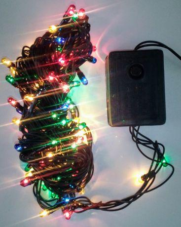Гирлянда 100 лампочек. Разноцветная 4 цвета 8 режимов. Новая. 220 В.