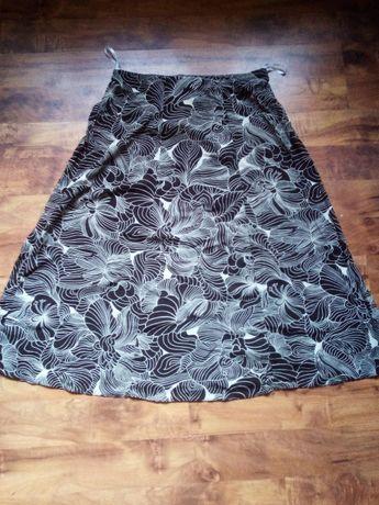 Wiskozowa spódica mini, Nightingales, nowa,biało-brązowa,roz.42 XL