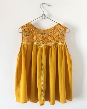 Blusa amarela com renda NOVA com portes