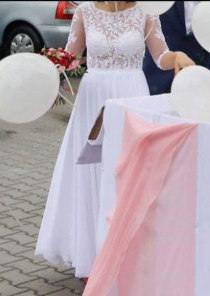 Suknia ślubna odkryte plecy koronka tiul