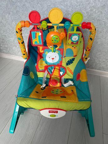 Кресло шезлонг музыкальный с вибро режимом fisher price как новое!