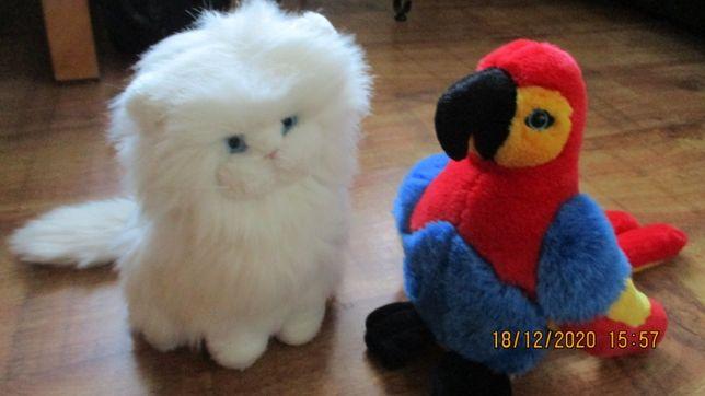 Maskotka pluszak -biały kotek, papuga wysokość ok27cm