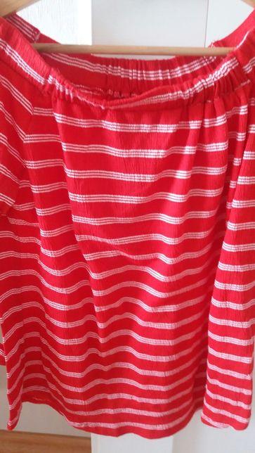 Papaya bluzka hiszpanka czerwona paski M S 36 38