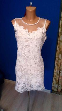 Biala sukienka koronka tiul dopasowana mini