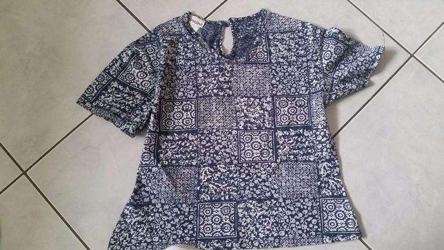koszulka, top, bluzeczka, biało niebieska, wzory, printy