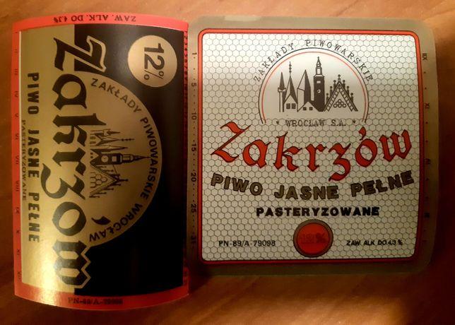 2 etykiety z Browaru Zakrzów Wrocław