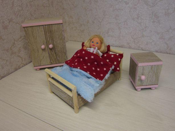 mebelki drewniane dla myszek lalek 1:12 sypialnia szfa łóżko szafka