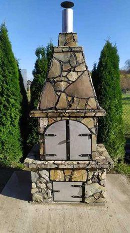 Grill ogrodowy z wędzarnią z kamienia naturalnego, ręcznie robiony.