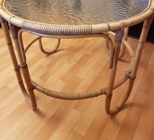 Stół bambusowy szklany okrągły