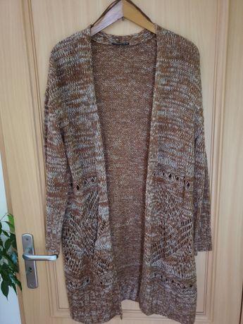 Sweter/Kardigan Janina brązowy, przód ażurowy, rozm. 42