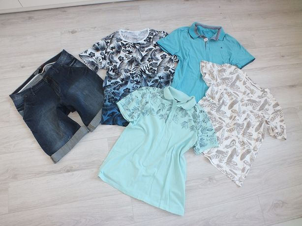 Zestaw męski spodenki jeans + 4 koszulki - XL