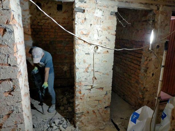 Демонтаж стін,стяжки,бетону. Підготовка до ремонту. Демонтаж під ключ