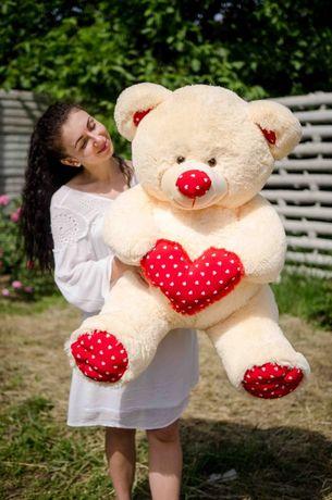 Большой плюшевый мишка c сердцем! Ведмедик! Мягкие игрушки! Акция