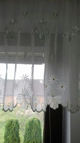 Gotowa Firana Zadroska z metra haftowana kryształek ecru 300x60 cm