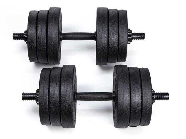 Hantle do ćwiczeń 2x10 kg 2x15 ciężarki bitumiczne sztangielki siłowni