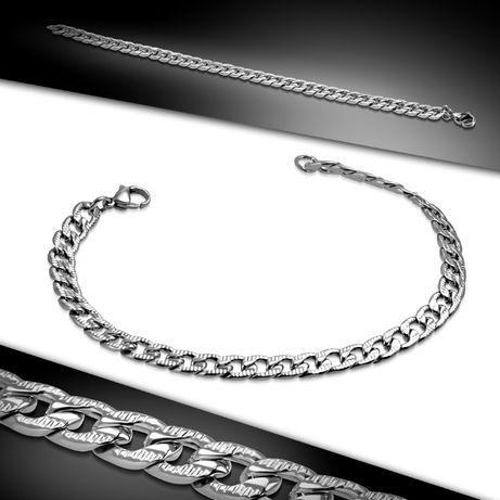 Srebrna męska bransoletka pancerka wzory stal chirurgiczna 316L BM28