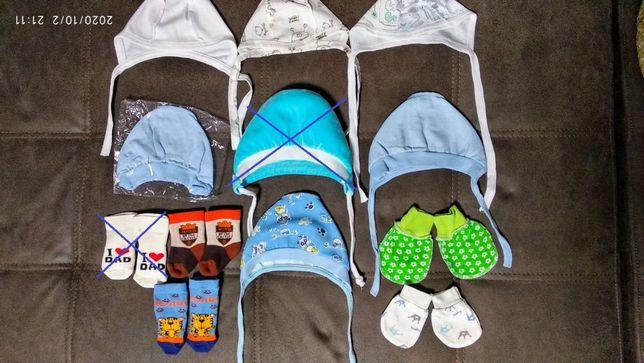 Шапочки чепчики для новорожденных хлопок трикотаж махра