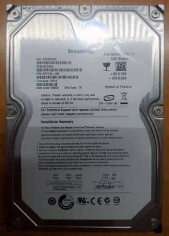 Жесткий диск Seagate-640gb. Форм-фактор 3.5