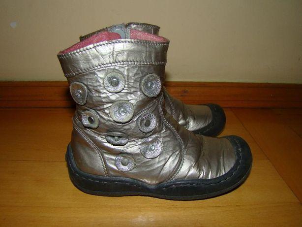 srebrne, skórzane buciki r.23 - skóra naturalna