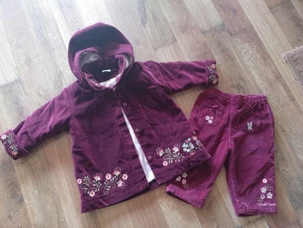 Kurtka płaszczyk wiosenny ze spodniami i czapką H&M rozmiar 86-92 Miki