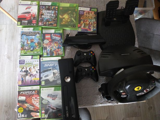 Xbox 360, Kinect, kierownica, gry, 2 pady