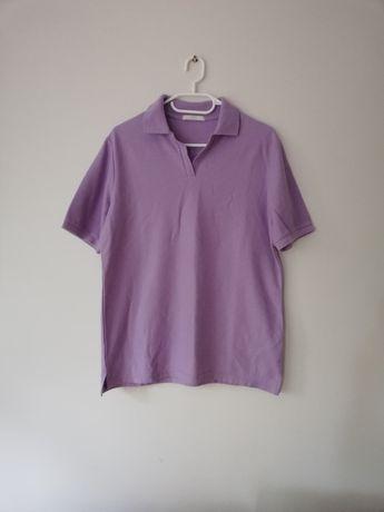 Fioletowa liliowa koszulka t-shirt polo kołnierzyk serek Marks&Spencer