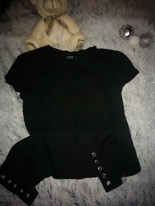 Czarna bluzka Reserved rozm. M z zamkiem i dekoracyjnym wiązaniem Stargard - image 1