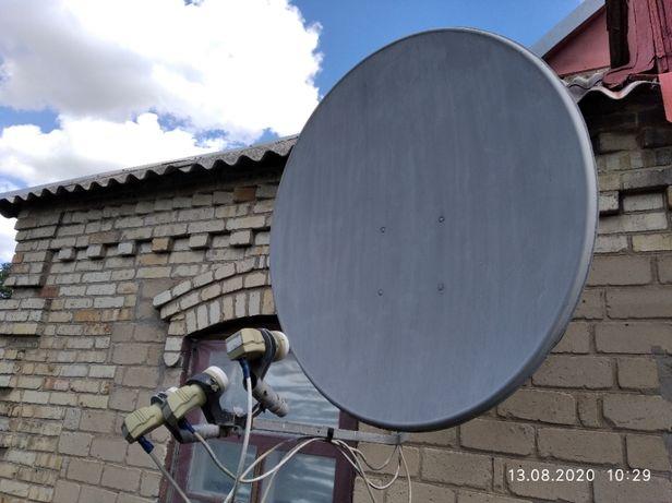 Продам спутниковую антенну с головками и тюнером.