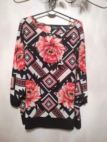 Bluzka plus size granatowa i wzorzysta w kwiaty Dorothy Perkins XXL