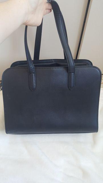 RESERVED Elegancka duża czarna torebka A4 z paskiem
