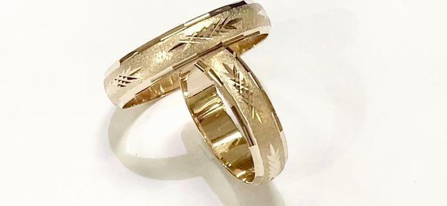 złote obrączki fasetowane 5 mm