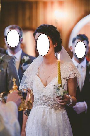 Zjawiskowa koronkowa ozdobna błyszcząca suknia ślubna 36 typ A