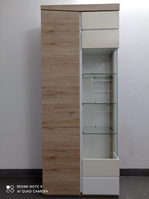Witryna szafka regał  przeszklony dąb sonoma białe lakierowane fronty Mordy - image 1