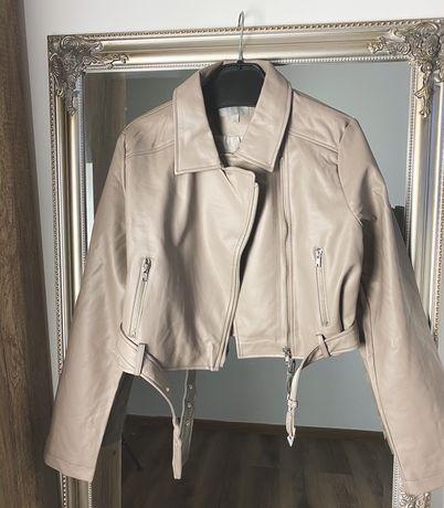 ASOS: Beżowa klasyczna kurtka skóra ramoneska nowa krótka rozm L/XL