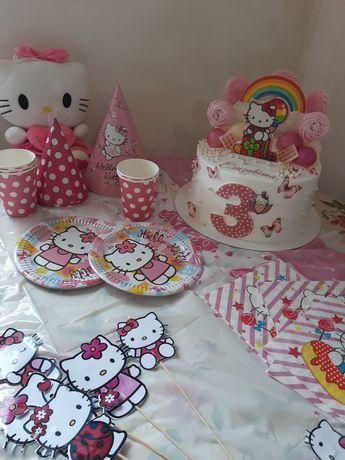 Атрибутика для дня рождения девочки в стиле  Hello Kitty колпаки цыфра