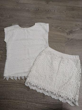 Костюм H&M 134р, блузка Place, футболка