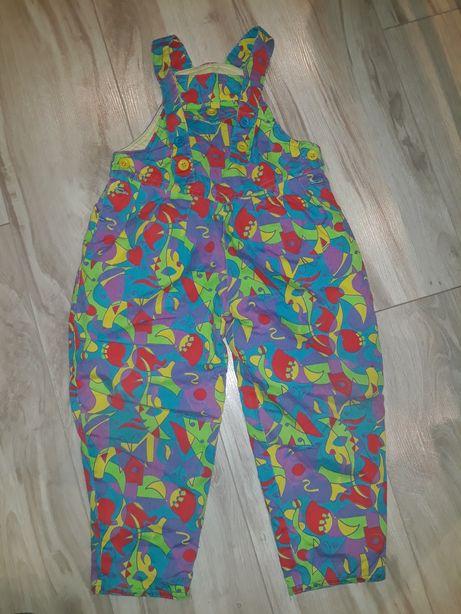 Cienkie spodnie zimowe kombinezon 92 98 86 kolorowe na szelkach szelki